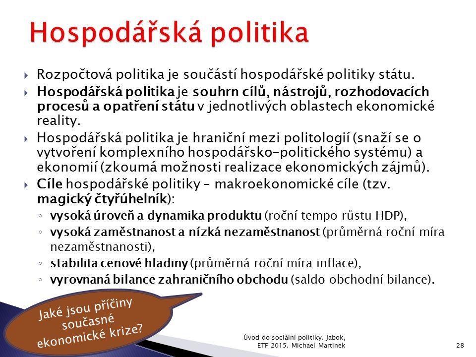  Rozpočtová politika je součástí hospodářské politiky státu.  Hospodářská politika je souhrn cílů, nástrojů, rozhodovacích procesů a opatření státu