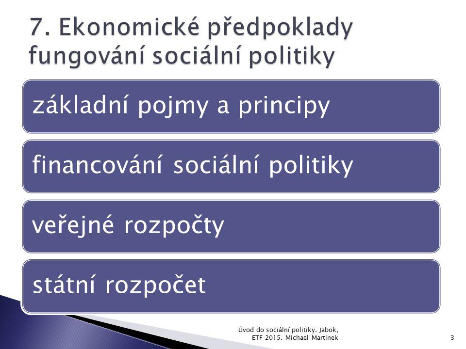 Úvod do sociální politiky. Jabok, ETF 2015. Michael Martinek3 základní pojmy a principyfinancování sociální politikyveřejné rozpočtystátní rozpočet