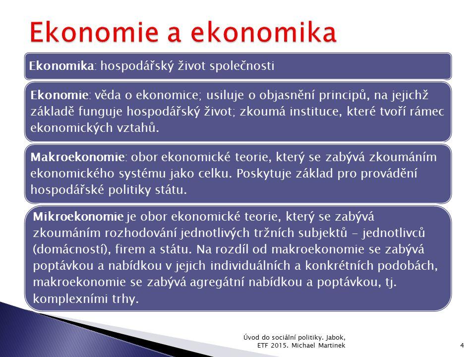 Ekonomika: hospodářský život společnosti Ekonomie: věda o ekonomice; usiluje o objasnění principů, na jejichž základě funguje hospodářský život; zkoum