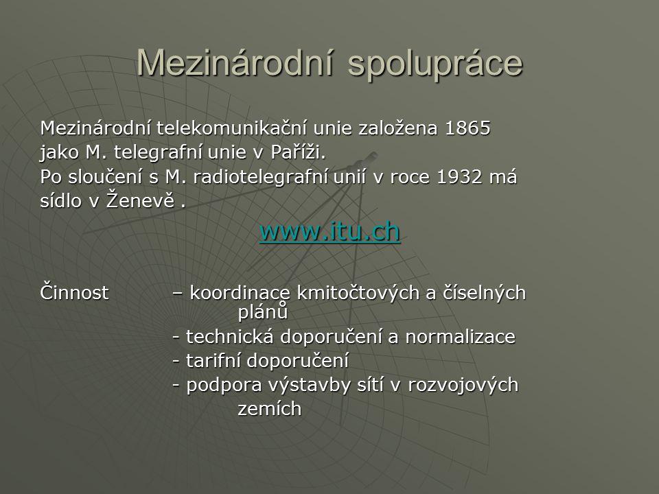 Mezinárodní spolupráce Mezinárodní telekomunikační unie založena 1865 jako M.