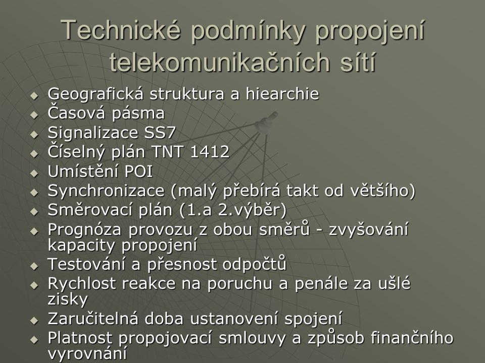 Technické podmínky propojení telekomunikačních sítí  Geografická struktura a hiearchie  Časová pásma  Signalizace SS7  Číselný plán TNT 1412  Umístění POI  Synchronizace (malý přebírá takt od většího)  Směrovací plán (1.a 2.výběr)  Prognóza provozu z obou směrů - zvyšování kapacity propojení  Testování a přesnost odpočtů  Rychlost reakce na poruchu a penále za ušlé zisky  Zaručitelná doba ustanovení spojení  Platnost propojovací smlouvy a způsob finančního vyrovnání