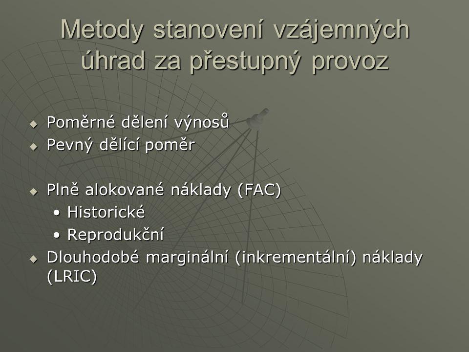 Metody stanovení vzájemných úhrad za přestupný provoz  Poměrné dělení výnosů  Pevný dělící poměr  Plně alokované náklady (FAC) HistorickéHistorické