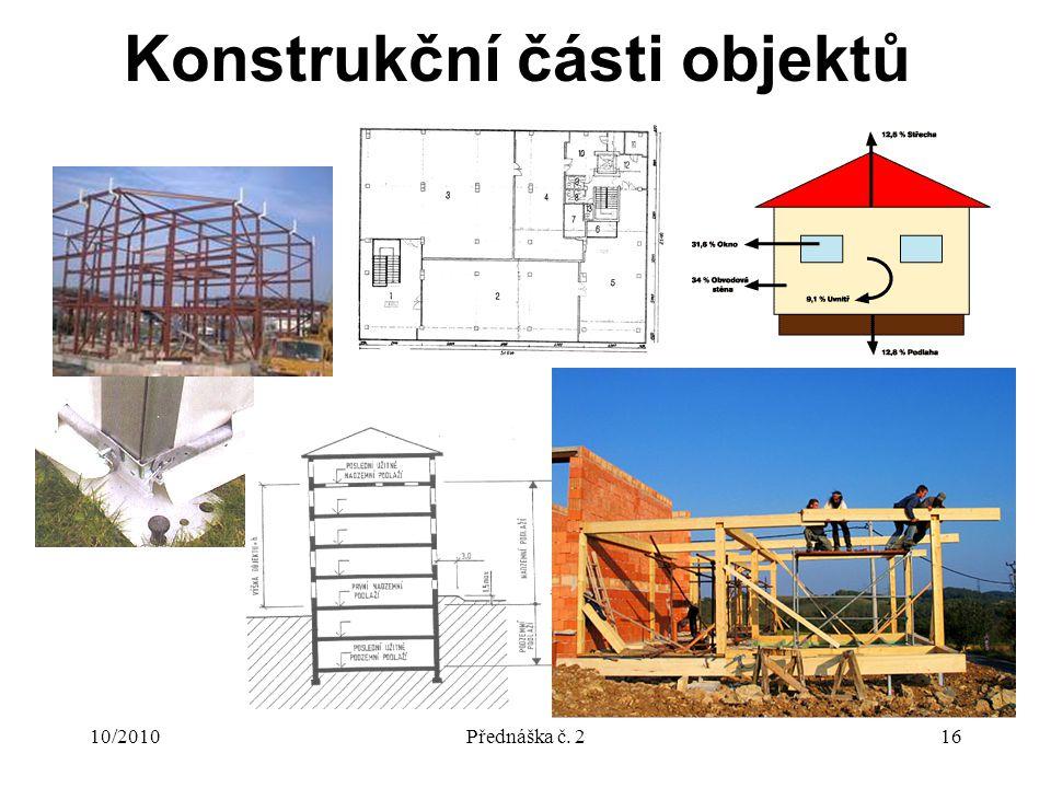 10/2010Přednáška č. 216 Konstrukční části objektů