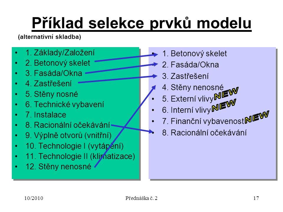10/2010Přednáška č. 217 Příklad selekce prvků modelu 1. Základy/Založení 2. Betonový skelet 3. Fasáda/Okna 4. Zastřešení 5. Stěny nosné 6. Technické v