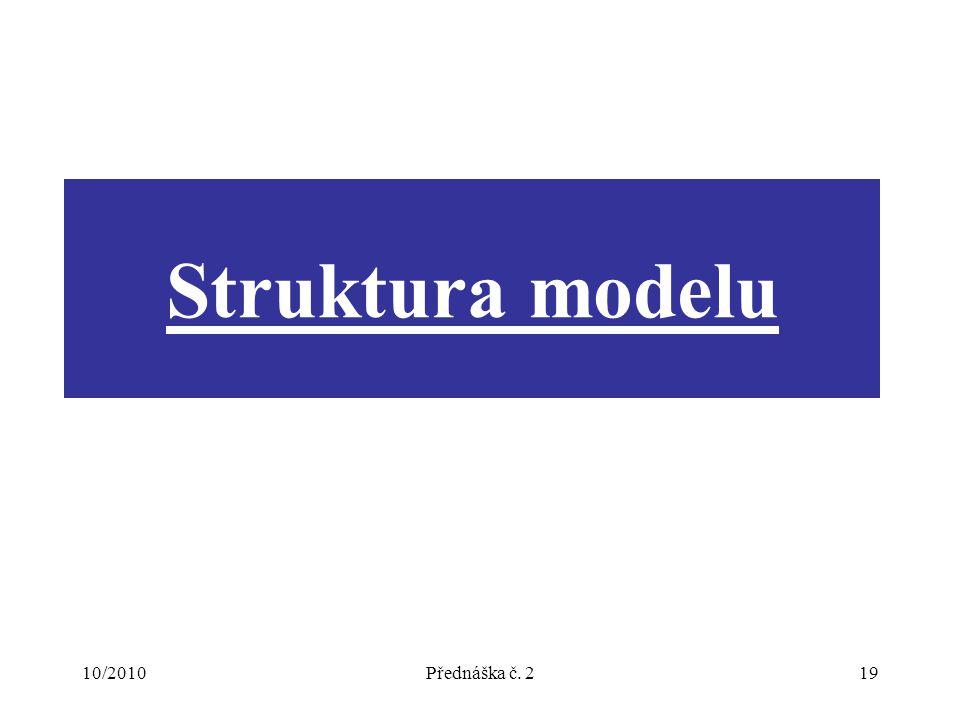 10/2010Přednáška č. 219 Struktura modelu