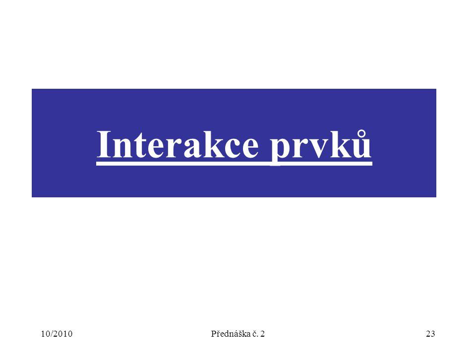 10/2010Přednáška č. 223 Interakce prvků