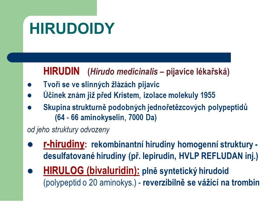 HIRUDOIDY HIRUDIN HIRUDIN ( Hirudo medicinalis – pijavice lékařská) Tvoří se ve slinných žlázách pijavic Účinek znám již před Kristem, izolace molekuly 1955 Skupina strukturně podobných jednořetězcových polypeptidů (64 - 66 aminokyselin, 7000 Da) od jeho struktury odvozeny r-hirudiny : r-hirudiny : rekombinantní hirudiny homogenní struktury - desulfatované hirudiny (př.