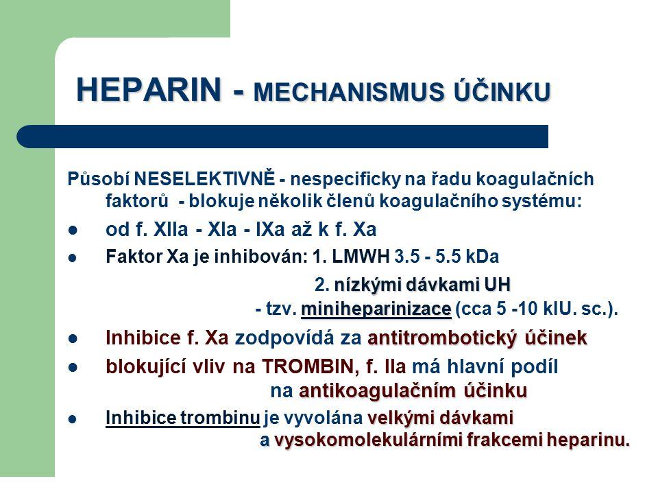 HEPARIN - MECHANISMUS ÚČINKU Působí NESELEKTIVNĚ - nespecificky na řadu koagulačních faktorů - blokuje několik členů koagulačního systému: od f. XIIa