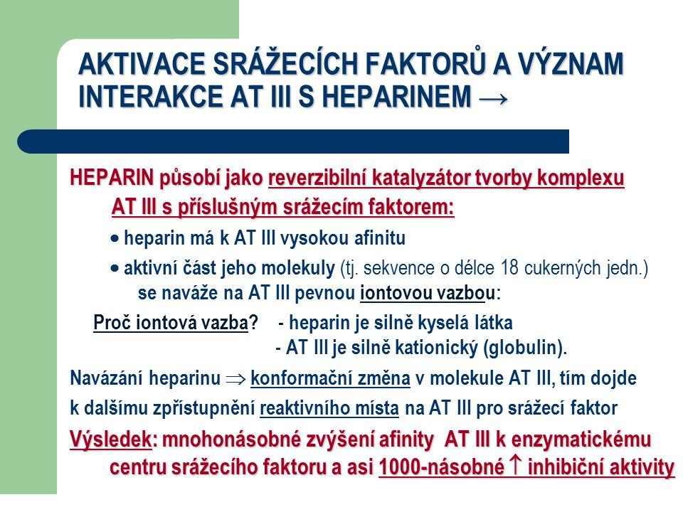 AKTIVACE SRÁŽECÍCH FAKTORŮ A VÝZNAM INTERAKCE AT III S HEPARINEM → HEPARIN působí jako reverzibilní katalyzátor tvorby komplexu AT III s příslušným srážecím faktorem: AT III s příslušným srážecím faktorem:  heparin má k AT III vysokou afinitu  aktivní část jeho molekuly (tj.