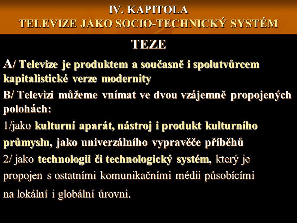 IV. KAPITOLA TELEVIZE JAKO SOCIO-TECHNICKÝ SYSTÉM TEZE A / Televize je produktem a současně i spolutvůrcem kapitalistické verze modernity B/ Televizi