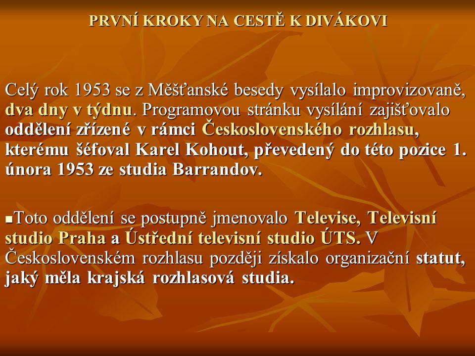PRVNÍ KROKY NA CESTĚ K DIVÁKOVI Celý rok 1953 se z Měšťanské besedy vysílalo improvizovaně, dva dny v týdnu. Programovou stránku vysílání zajišťovalo