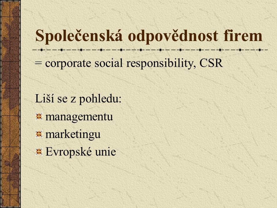 Společenská odpovědnost firem = corporate social responsibility, CSR Liší se z pohledu: managementu marketingu Evropské unie