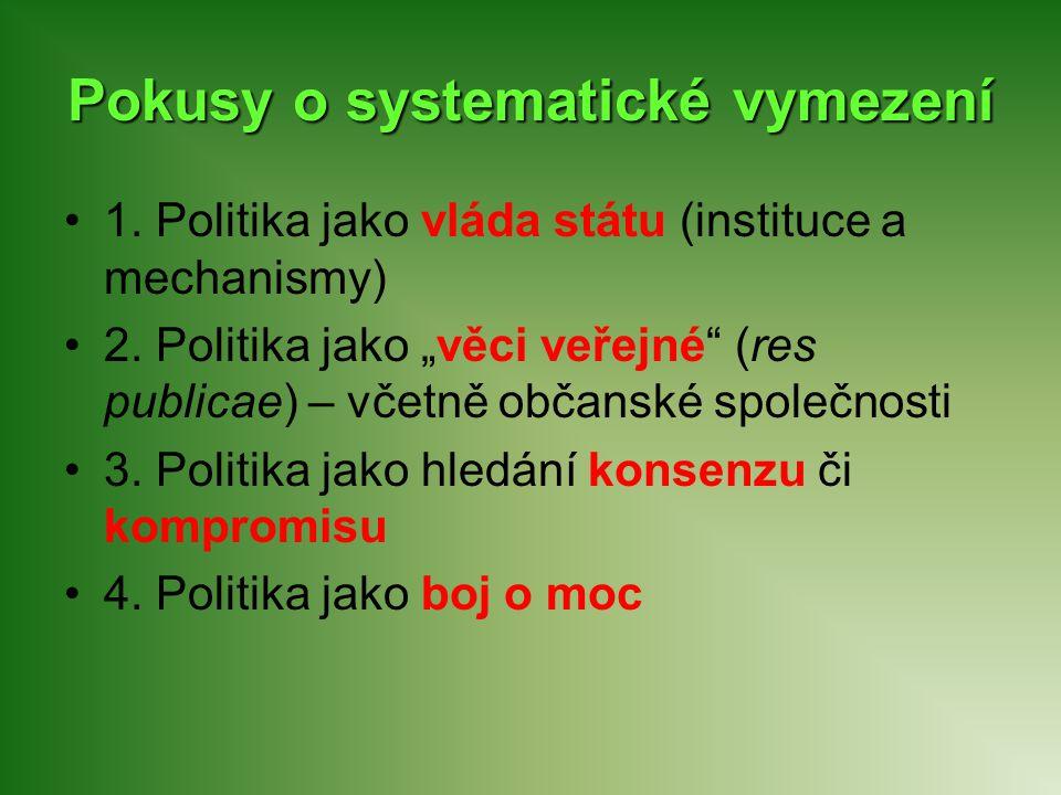"""Pokusy o systematické vymezení 1. Politika jako vláda státu (instituce a mechanismy) 2. Politika jako """"věci veřejné"""" (res publicae) – včetně občanské"""