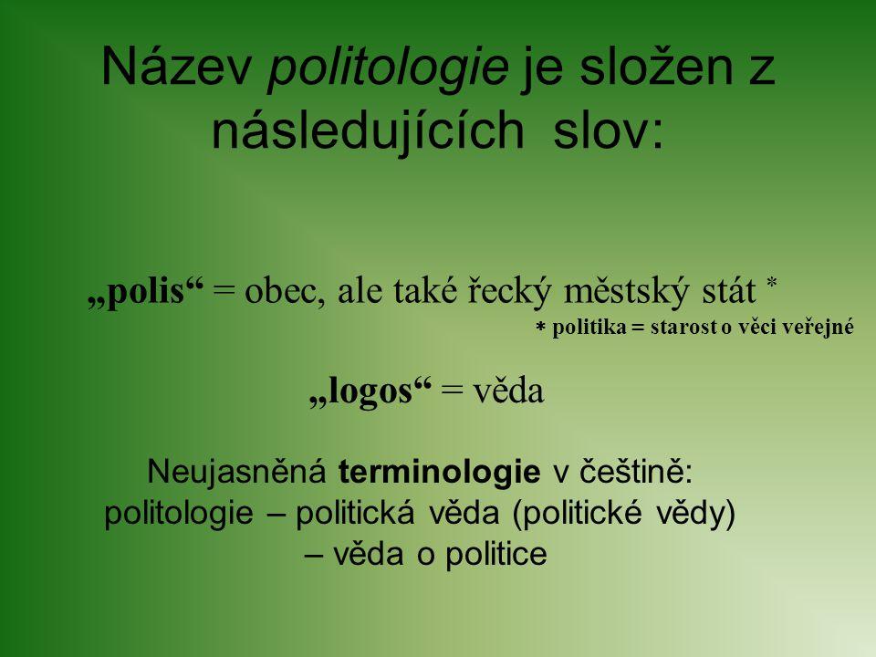 """Název politologie je složen z následujících slov: """"polis"""" = obec, ale také řecký městský stát  """"logos"""" = věda  politika = starost o věci veřejné Neu"""