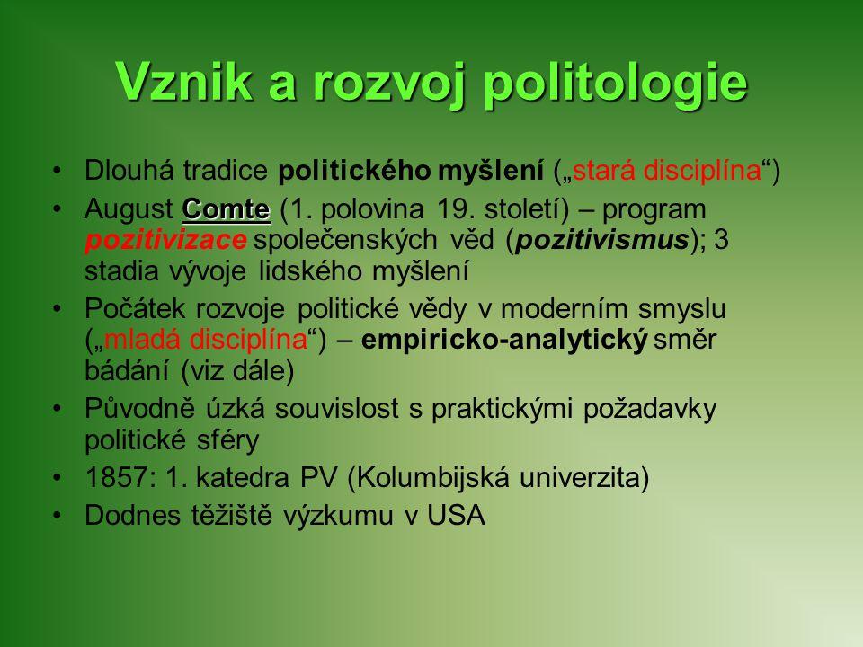Vznik a rozvoj politologie Kořeny v dějinách politického myšlení sahajících do antiky Ve své současné podobě souvisí s rozvojem moderní společnosti - centralizace moci - průmyslová revoluce - vstup širšího obyvatelstva do politiky
