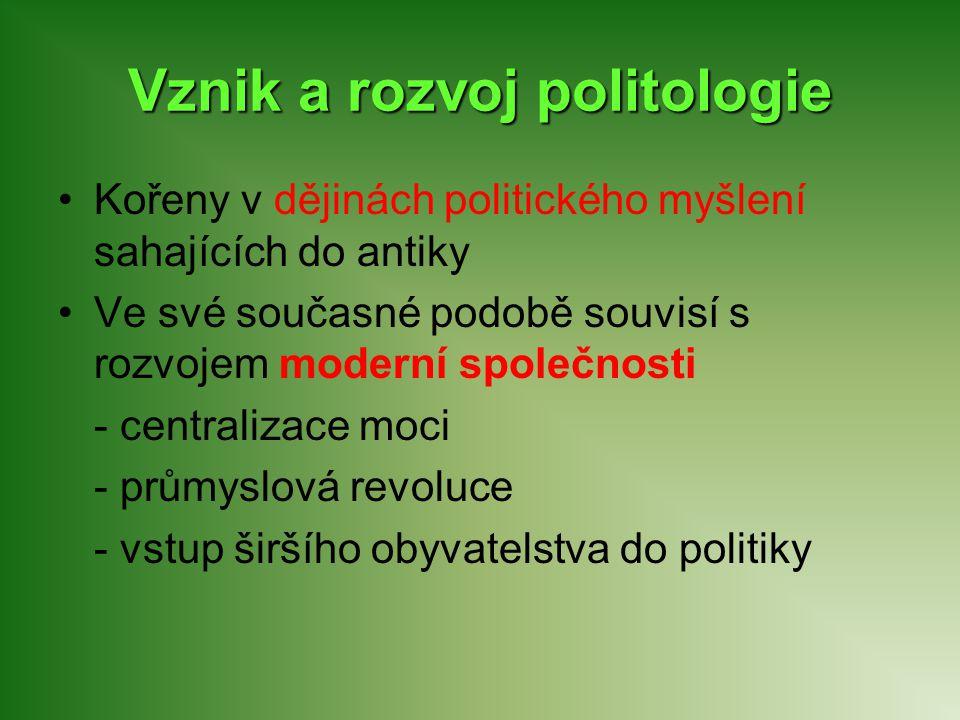 Vznik a rozvoj politologie Kořeny v dějinách politického myšlení sahajících do antiky Ve své současné podobě souvisí s rozvojem moderní společnosti -