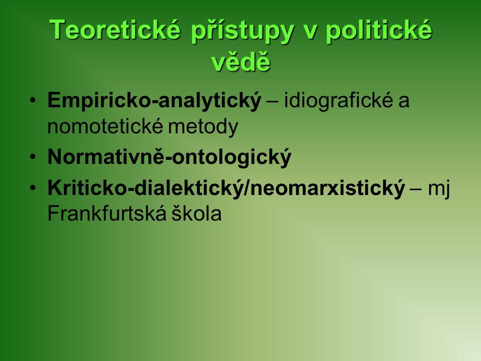 Teoretické přístupy v politické vědě Empiricko-analytický – idiografické a nomotetické metody Normativně-ontologický Kriticko-dialektický/neomarxistic