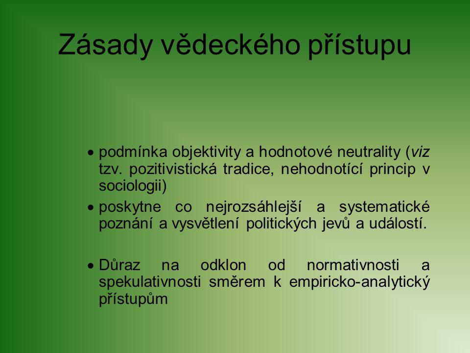 Zásady vědeckého přístupu  podmínka objektivity a hodnotové neutrality (viz tzv. pozitivistická tradice, nehodnotící princip v sociologii)  poskytne