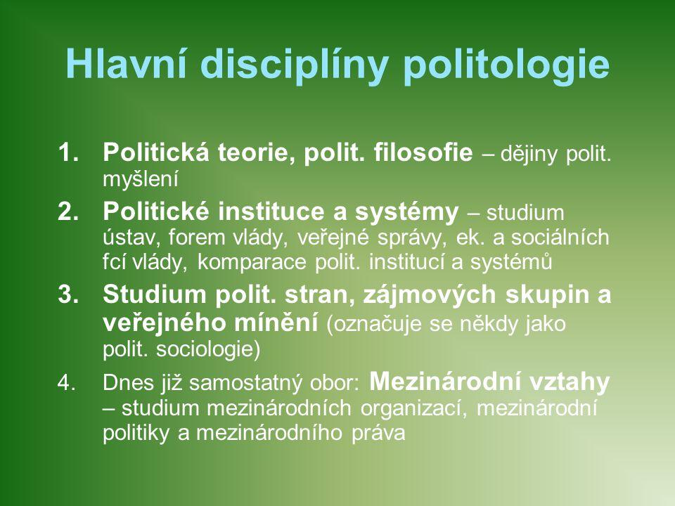 Hlavní disciplíny politologie 1.Politická teorie, polit. filosofie – dějiny polit. myšlení 2.Politické instituce a systémy – studium ústav, forem vlád