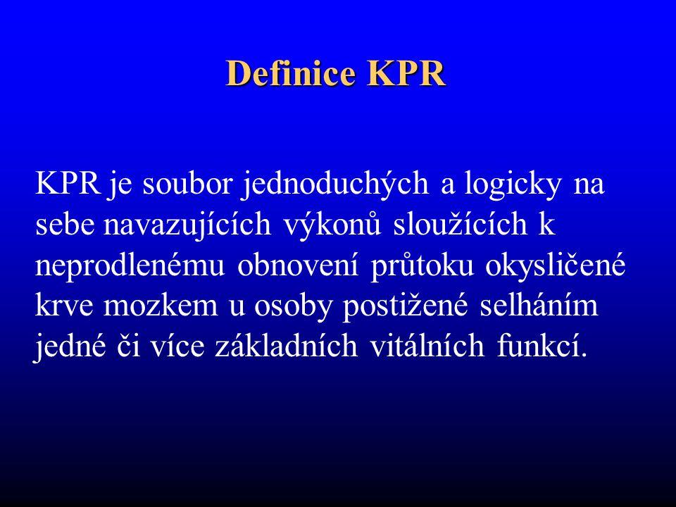 Definice KPR KPR je soubor jednoduchých a logicky na sebe navazujících výkonů sloužících k neprodlenému obnovení průtoku okysličené krve mozkem u osoby postižené selháním jedné či více základních vitálních funkcí.