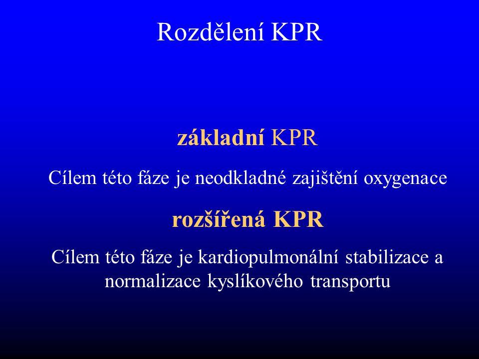 Rozdělení KPR základní KPR Cílem této fáze je neodkladné zajištění oxygenace rozšířená KPR Cílem této fáze je kardiopulmonální stabilizace a normalizace kyslíkového transportu