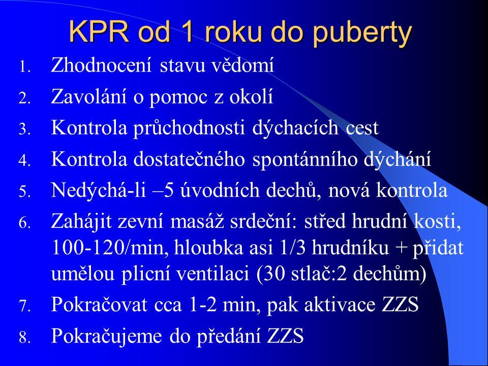 KPR od 1 roku do puberty 1.Zhodnocení stavu vědomí 2.
