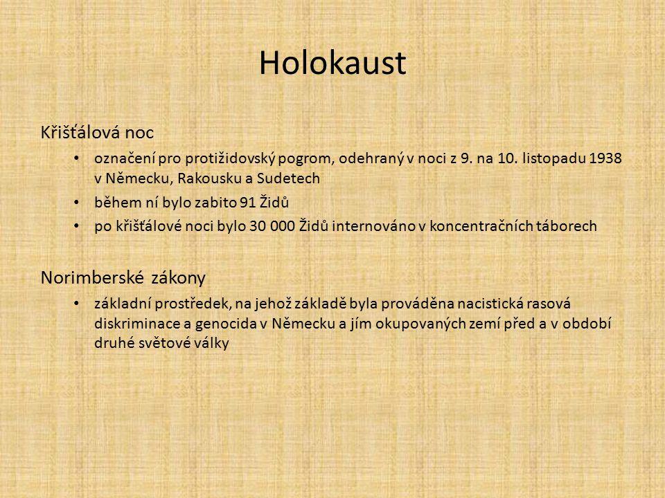 Holokaust Křišťálová noc označení pro protižidovský pogrom, odehraný v noci z 9. na 10. listopadu 1938 v Německu, Rakousku a Sudetech během ní bylo za