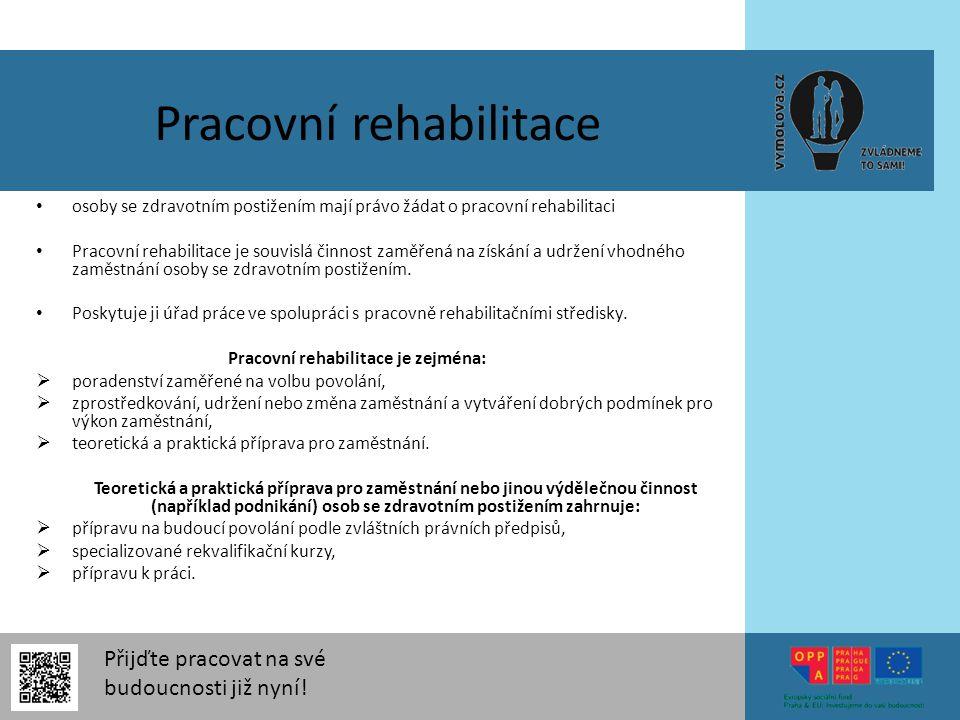 Přijďte pracovat na své budoucnosti již nyní! Pracovní rehabilitace osoby se zdravotním postižením mají právo žádat o pracovní rehabilitaci Pracovní r