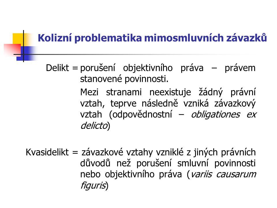 Předpoklady vzniku odpovědnosti = charakteristické znaky deliktu Protiprávnost Následek protiprávnosti (hmotná škoda, materiální újma) Kauzální nexus Zavinění
