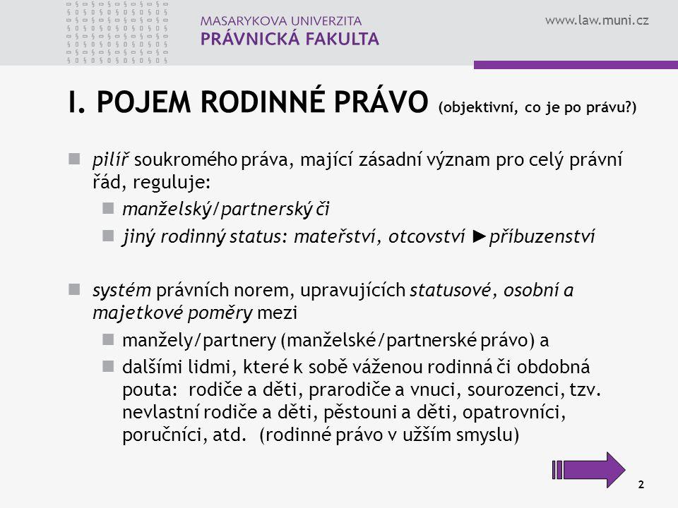 www.law.muni.cz 2 I. POJEM RODINNÉ PRÁVO (objektivní, co je po právu?) pilíř soukromého práva, mající zásadní význam pro celý právní řád, reguluje: ma
