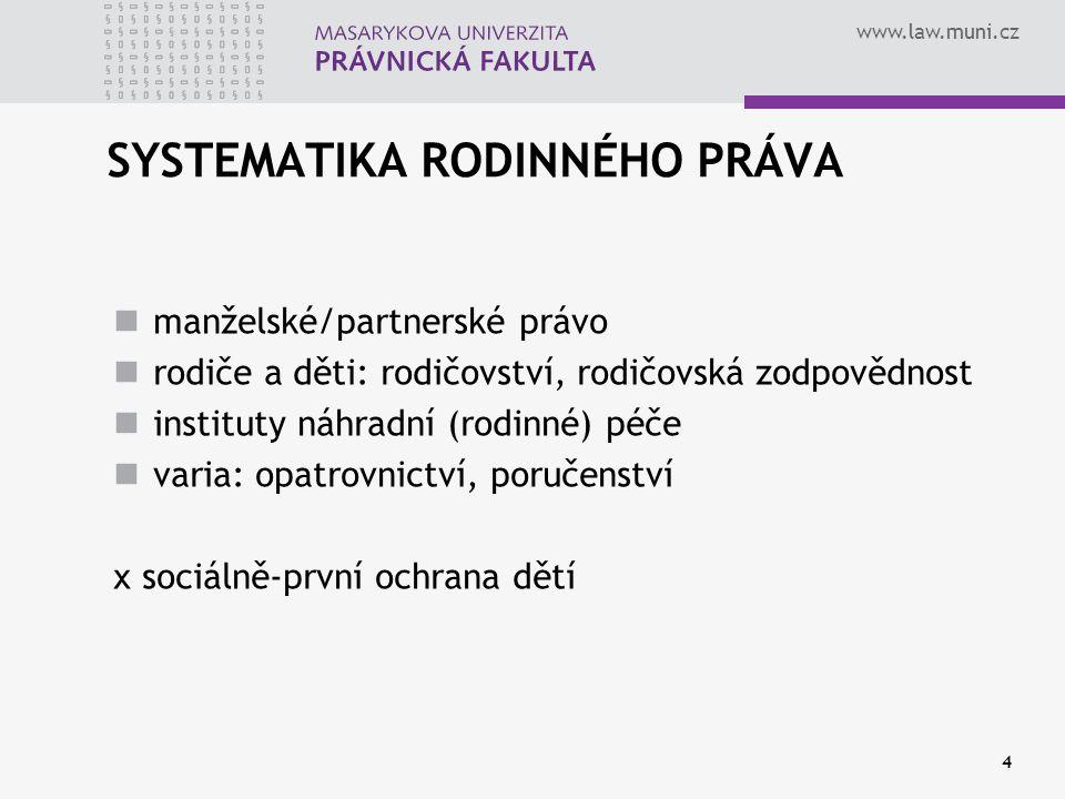 www.law.muni.cz 4 SYSTEMATIKA RODINNÉHO PRÁVA manželské/partnerské právo rodiče a děti: rodičovství, rodičovská zodpovědnost instituty náhradní (rodin