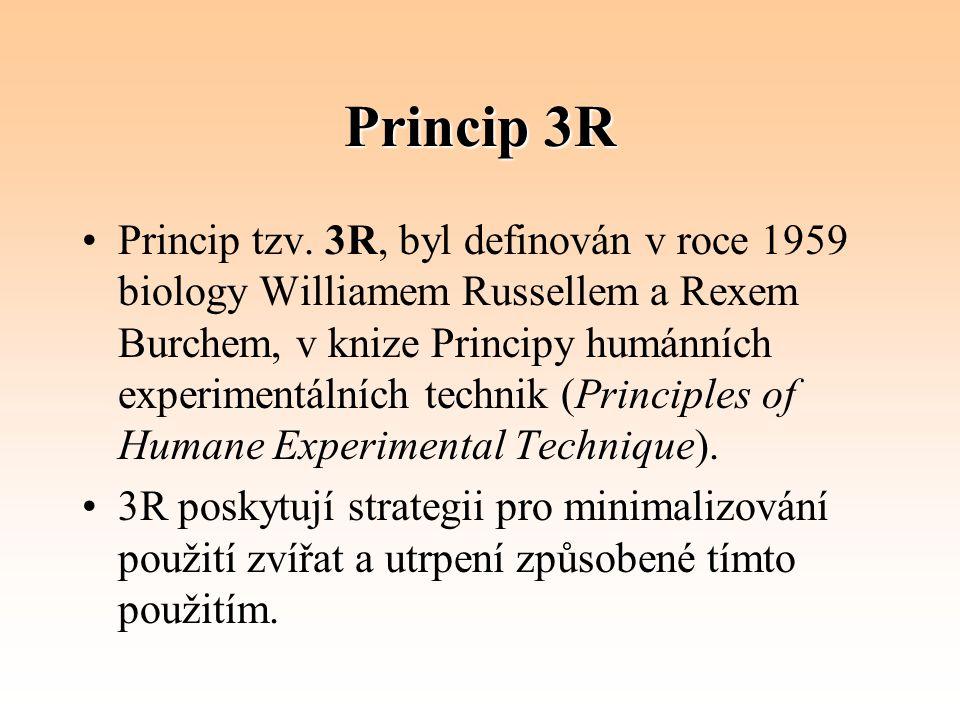 Princip 3R Princip tzv. 3R, byl definován v roce 1959 biology Williamem Russellem a Rexem Burchem, v knize Principy humánních experimentálních technik