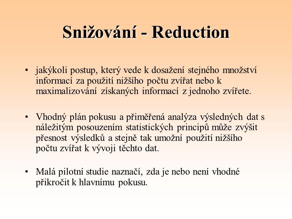 Snižování - Reduction jakýkoli postup, který vede k dosažení stejného množství informací za použití nižšího počtu zvířat nebo k maximalizování získaný