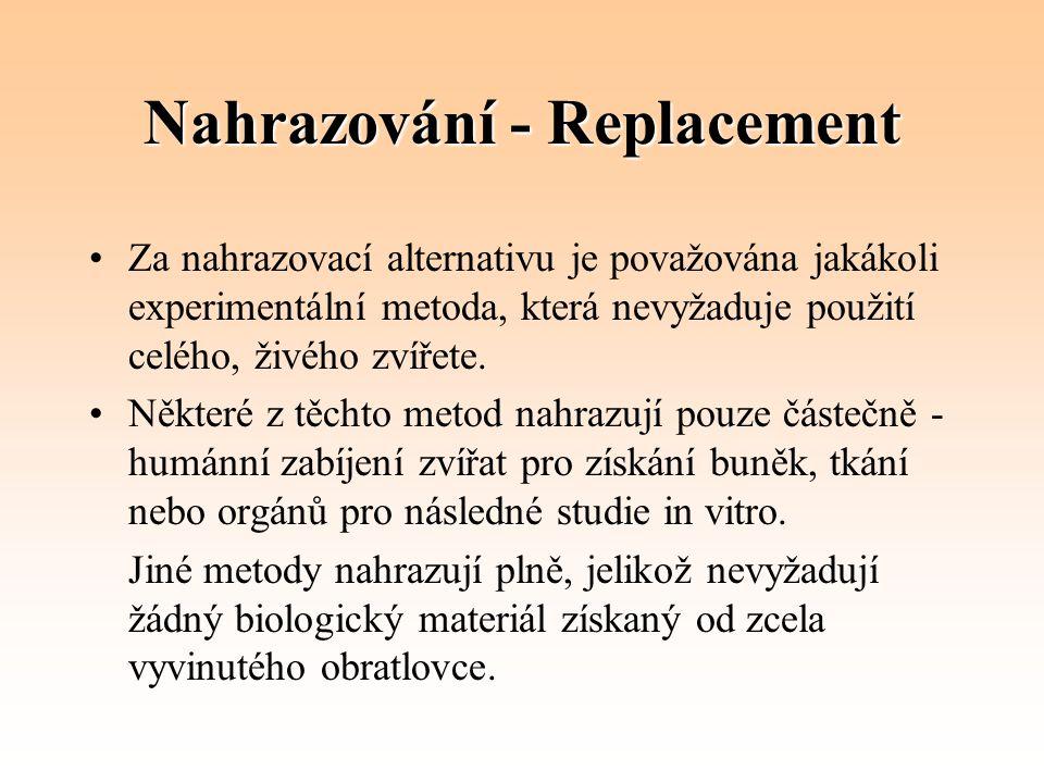 Nahrazování - Replacement Za nahrazovací alternativu je považována jakákoli experimentální metoda, která nevyžaduje použití celého, živého zvířete. Ně
