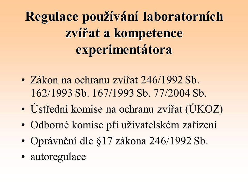 Regulace používání laboratorních zvířat a kompetence experimentátora Zákon na ochranu zvířat 246/1992 Sb. 162/1993 Sb. 167/1993 Sb. 77/2004 Sb. Ústřed