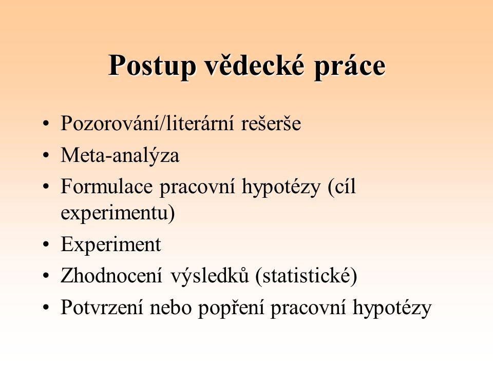 Postup vědecké práce Pozorování/literární rešerše Meta-analýza Formulace pracovní hypotézy (cíl experimentu) Experiment Zhodnocení výsledků (statistic