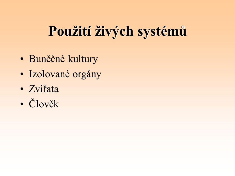 Použití živých systémů Buněčné kultury Izolované orgány Zvířata Člověk