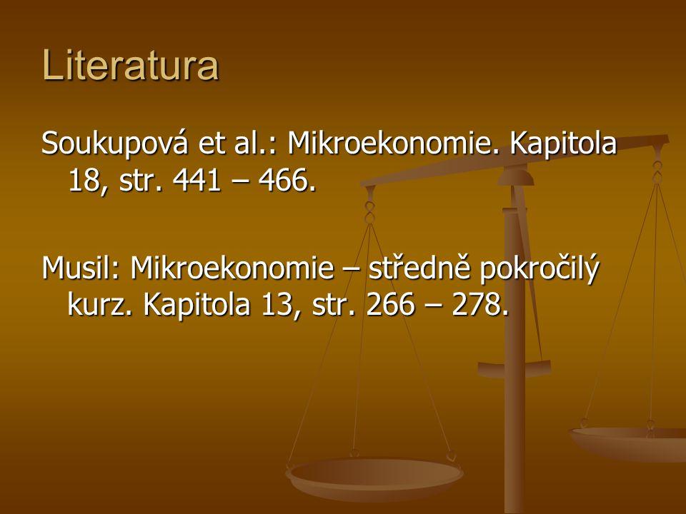 Literatura Soukupová et al.: Mikroekonomie.Kapitola 18, str.