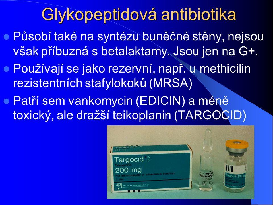 Glykopeptidová antibiotika Působí také na syntézu buněčné stěny, nejsou však příbuzná s betalaktamy. Jsou jen na G+. Používají se jako rezervní, např.