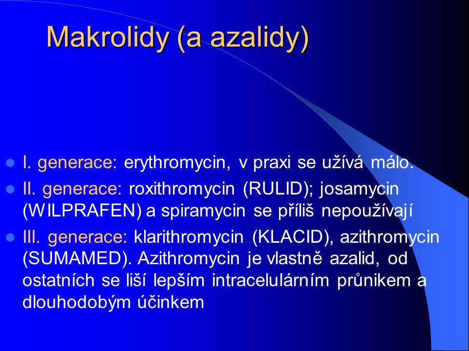 Makrolidy (a azalidy) I. generace: erythromycin, v praxi se užívá málo. II. generace: roxithromycin (RULID); josamycin (WILPRAFEN) a spiramycin se pří