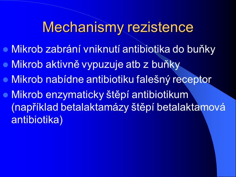 Mechanismy rezistence Mikrob zabrání vniknutí antibiotika do buňky Mikrob aktivně vypuzuje atb z buňky Mikrob nabídne antibiotiku falešný receptor Mikrob enzymaticky štěpí antibiotikum (například betalaktamázy štěpí betalaktamová antibiotika)