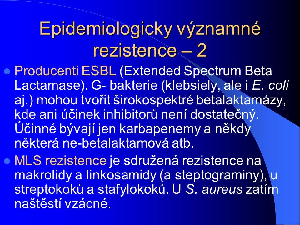 Epidemiologicky významné rezistence – 2 Producenti ESBL (Extended Spectrum Beta Lactamase).