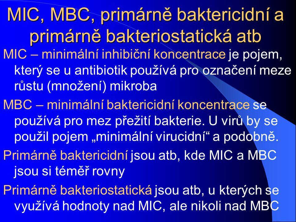 MIC, MBC, primárně baktericidní a primárně bakteriostatická atb MIC – minimální inhibiční koncentrace je pojem, který se u antibiotik používá pro označení meze růstu (množení) mikroba MBC – minimální baktericidní koncentrace se používá pro mez přežití bakterie.