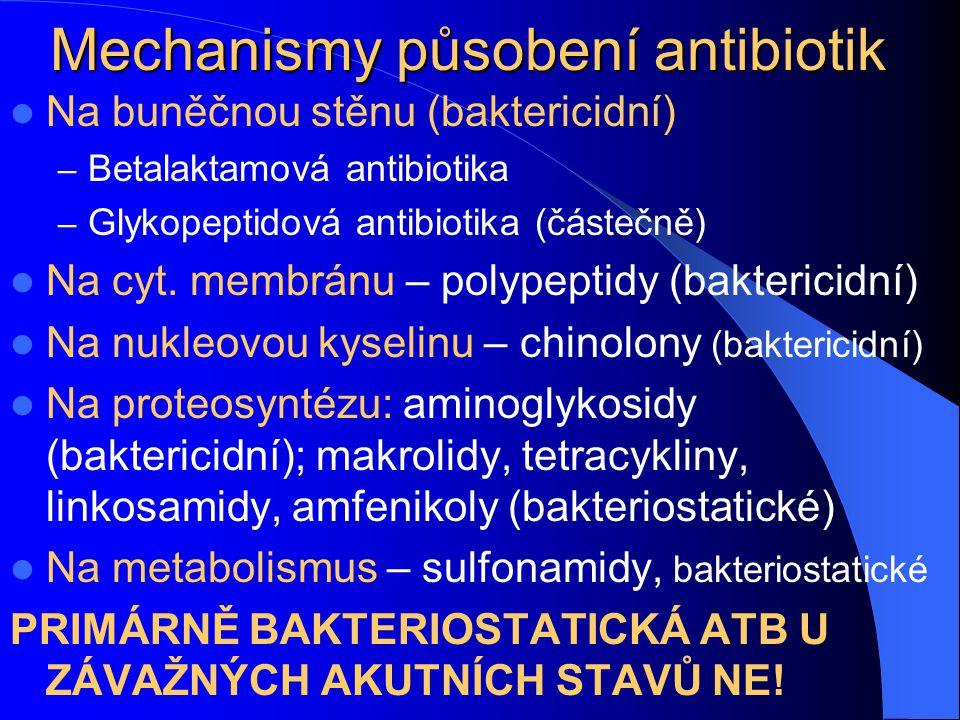 Mechanismy působení antibiotik Na buněčnou stěnu (baktericidní) – Betalaktamová antibiotika – Glykopeptidová antibiotika (částečně) Na cyt. membránu –