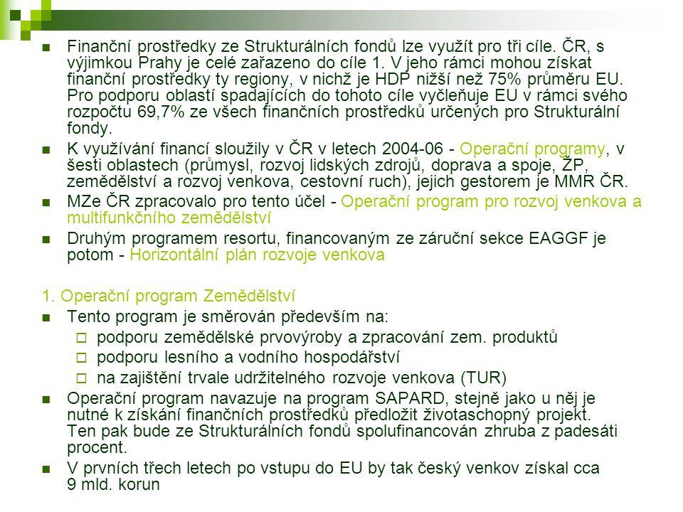 Finanční prostředky ze Strukturálních fondů lze využít pro tři cíle. ČR, s výjimkou Prahy je celé zařazeno do cíle 1. V jeho rámci mohou získat finanč