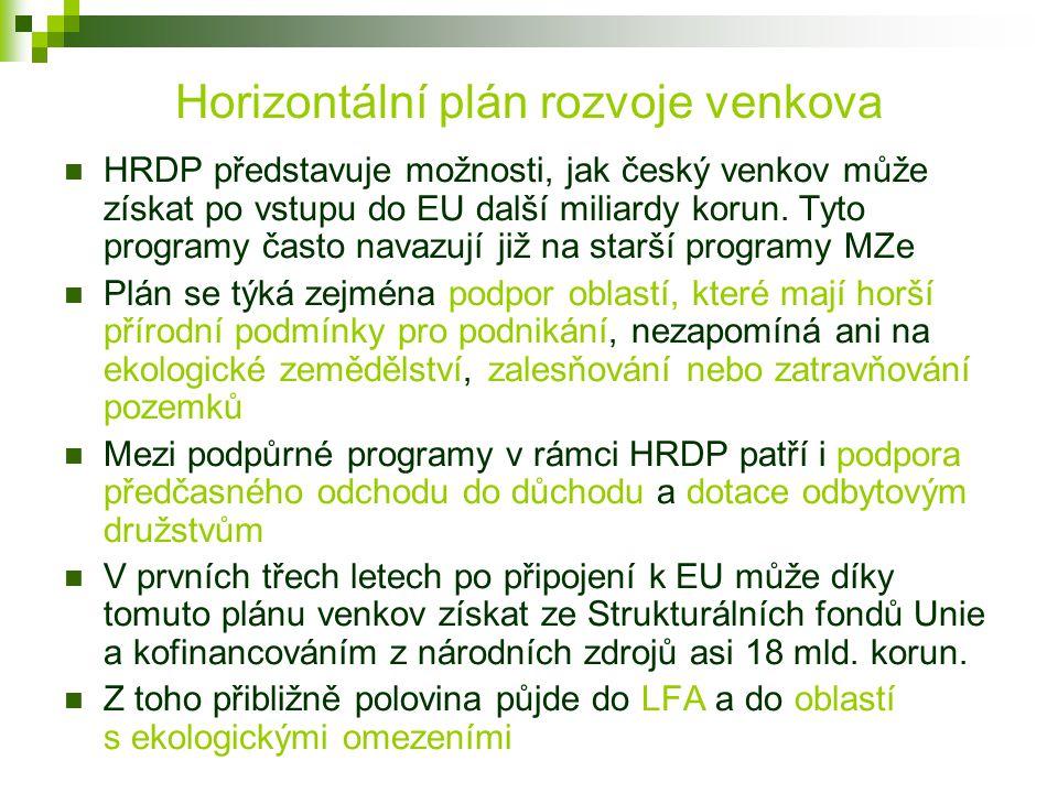 Horizontální plán rozvoje venkova HRDP představuje možnosti, jak český venkov může získat po vstupu do EU další miliardy korun. Tyto programy často na