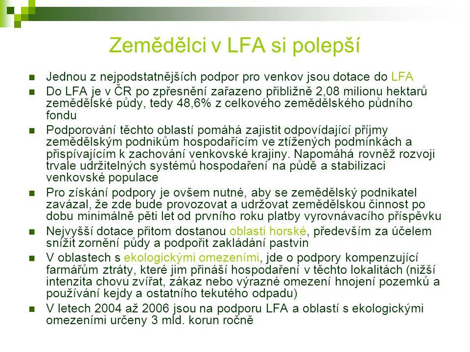 Zemědělci v LFA si polepší Jednou z nejpodstatnějších podpor pro venkov jsou dotace do LFA Do LFA je v ČR po zpřesnění zařazeno přibližně 2,08 milionu