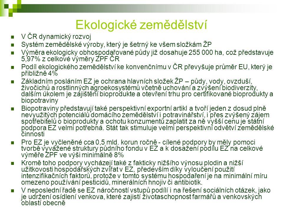 Ekologické zemědělství V ČR dynamický rozvoj Systém zemědělské výroby, který je šetrný ke všem složkám ŽP Výměra ekologicky obhospodařované půdy již d