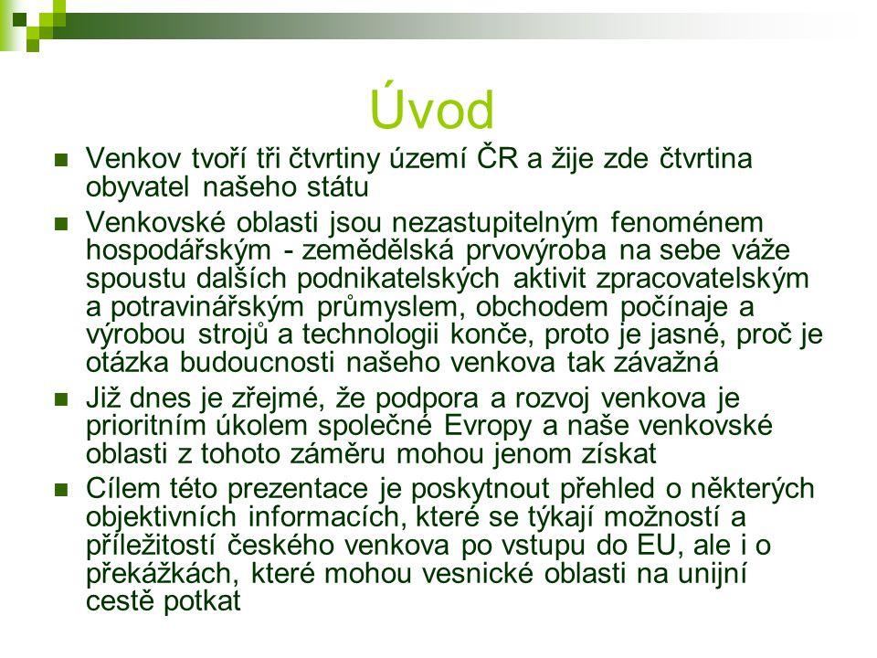 Úvod Venkov tvoří tři čtvrtiny území ČR a žije zde čtvrtina obyvatel našeho státu Venkovské oblasti jsou nezastupitelným fenoménem hospodářským - země