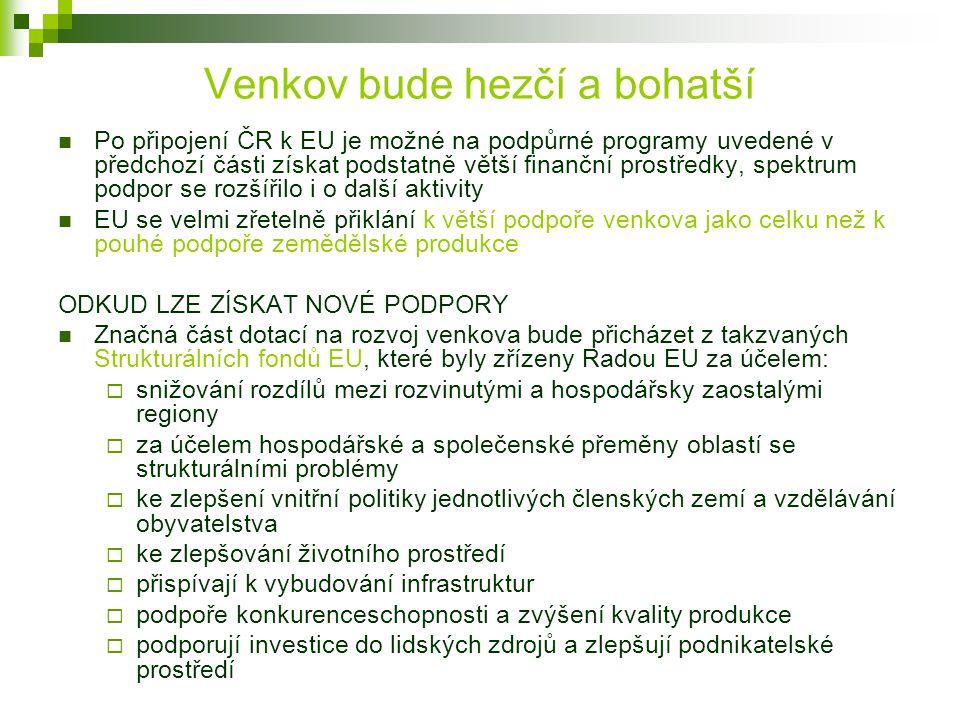 Venkov bude hezčí a bohatší Po připojení ČR k EU je možné na podpůrné programy uvedené v předchozí části získat podstatně větší finanční prostředky, s